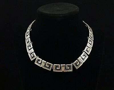 Vintage 1940s Margot De Taxco Mexico 925 Sterling Silver Mayan Choker Necklace