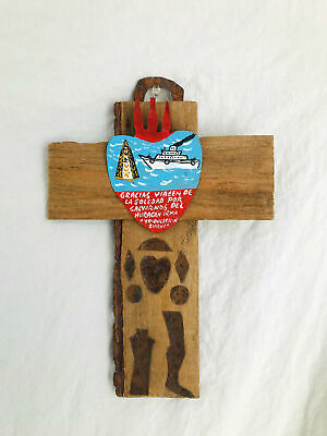Mexican Miracle Ex Voto Retablo Cross. Votive. Milagro Painting.