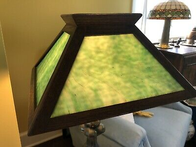 Antique Mission Arts & Crafts Oak Green Slag Glass Shade for Mission Oak Base
