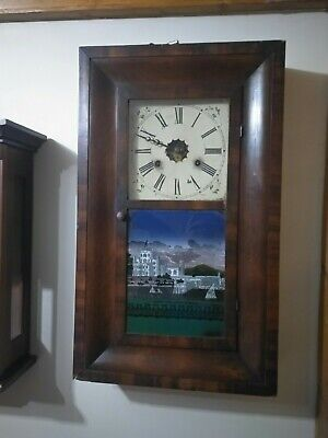 American 30 hour weight driven wall clock Jerome & Co with glass painting
