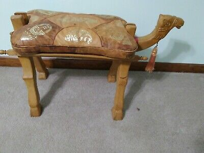 Rare Vintage Hand Carved Wooden Camel Bench Footstool Ottoman straw stuffed sadl