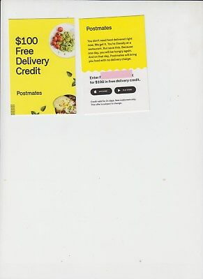 POSTMATES $100 IN Delivery Fee Credit Coupon Discount Code