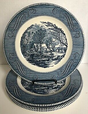 "Royal China Currier and Ives The Old Grist Mill 10"" Blue Dinner Plates Set of 4"