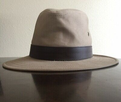 Henschel Outback Crushable, Canvas with Leather Band Khaki Size Small