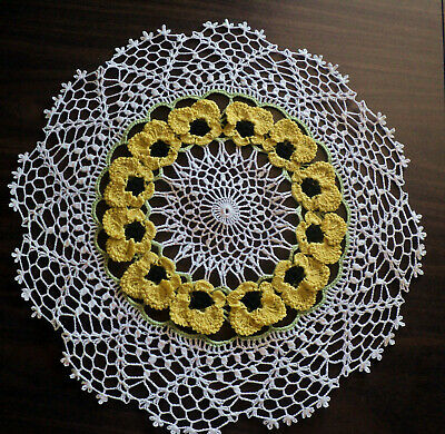 "New Crochet 15"" Pansy  Doily ...1 Day Shipping"