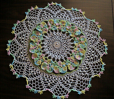 """New Crochet 15"""" Pansy  Doily ...1 Day Shipping"""