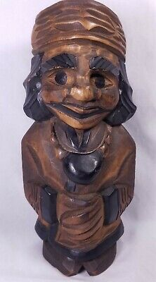 "Vintage Large Hand Carved Native American Man w/ Tobacco Pouch 9.5"" Wood Figure"