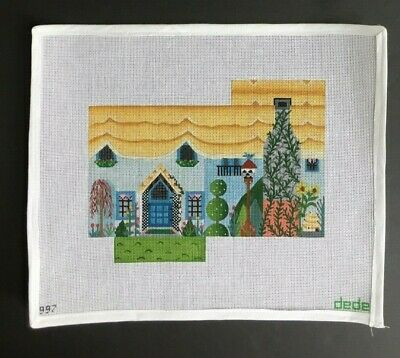 Dede Hand-painted Needlepoint Canvas Bright & Colorful 3-D House/Landscaping
