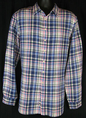 THOMAS PINK Pure Linen Blue Pink Green Plaid Button Up Shirt, Men's L