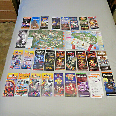Large lot of Amusement Park Guidemaps & Show Guides, Disney Six Flags Universal