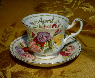 Royal Albert *sweet Pea* April Cup & Saucer Flower Of The Month Series England