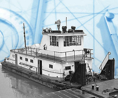 """Model  Boat Full Size Printed PLAN Dravo 35"""" Radio Control Towboat & barge &note"""