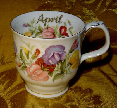 Royal Albert *sweet Pea* April Coffee Mug Flower Of The Month Series England