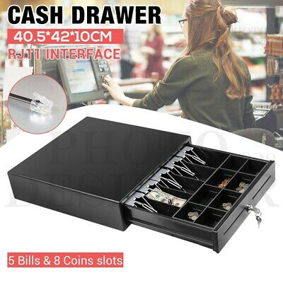 Manual/Electronic Heavy Duty Cash Drawer Cash Register POS 5 Bills 8 Coins Tray
