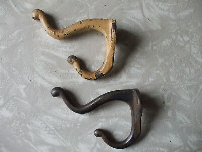 Lot of 2 old vintage heavy cast iron 1940s coat hat hooks, very shabby chic