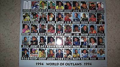 1994 World Of Outlaws Uncut Sheet w/photo of Eldora on back Rare only 1,000 made