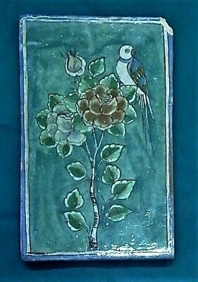 middle eastern antique floral tile, c. early 20th cent. 8.25 x 14.75 inches