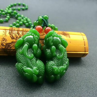 A Pair China Nephrite Green Hetian Jade Carve Unicorn Pixiu Amulet Necklace