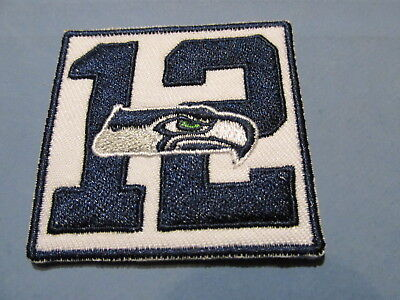 "Seattle Seahawks #12 Embroidered Iron/Sew ON Patch 2""x2"" Logo"