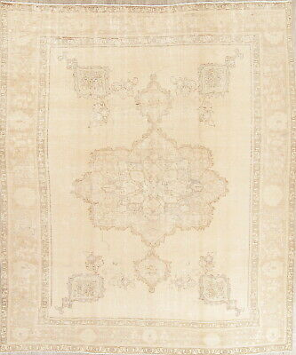 Old Antique Muted Persian Wool Hand-Knotted Geometric Oriental Area Rug 9 x 12