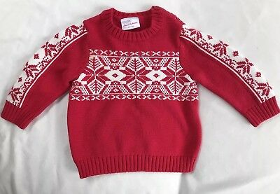 Hanna Andersson Size 80 18-24 Months Nordic Red And White Christmas
