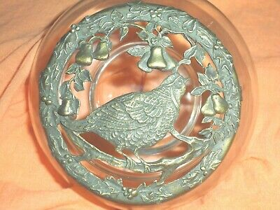 Vintage Rawcliffe Pewter Partridge Design Potpourri Lid And Clear Glass Jar