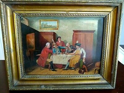 19th Century Oil on Panel of a Tavern Scene - Antique Gilt Frame