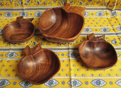 VINTAGE 70's HAND CARVED WOODEN MONKEY POD PARTY SNACK BOWLS – SET OF 4 LEAF SHA