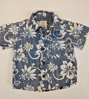 Old Navy Floral Baby Boys Size 6-12 Months Button Down Short Sleeve