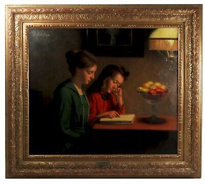 Woman & Girl 'The Reading Lesson' 19th/20thC Signed Large Antique Oil Painting