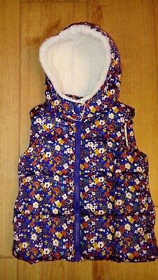 Girls NEXT Navy/Floral Padded Hooded Gilet Age 2/3 Years
