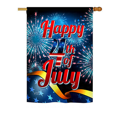 Happy 4th of July - Impressions Decorative House Flag Set - HS137022-BO
