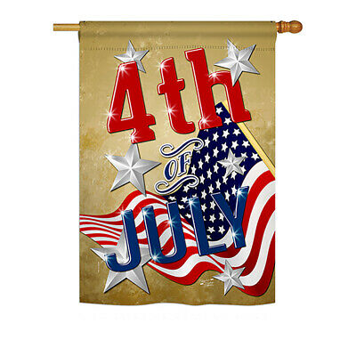 4th of July - Impressions Decorative House Flag Set - HS137072-BO