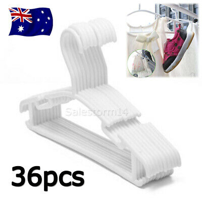 36pcs WHITE Children Kids Coat Hangers Child Baby Clothes Hanger AU