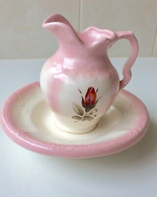 Vintage Arnels Wash Bowl And Jug - Pitcher and Wash Basin - Pink Roses