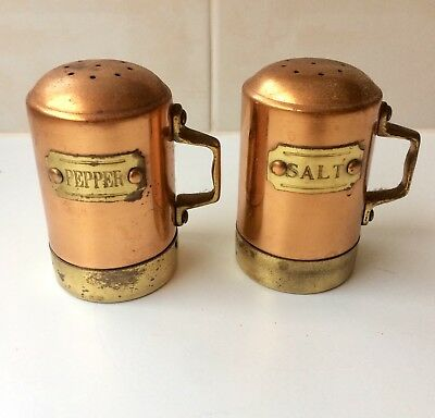 Vintage Copper And Brass Salt and Pepper Shakers - English Tin Lined - Unused