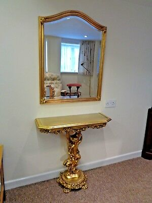 French Style Gilt/ Gold Leaf Contemporary Consul Table And  Associated Mirror