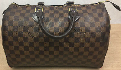 701e27d4feeb6 100% Authentic Louis Vuitton Speedy 35 Damier Ebene Canvas Handbag