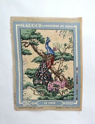 """Vintage Tapestry Kit needlepoint canvas & Wool Peacock Almost Completed 12"""" X 8"""""""