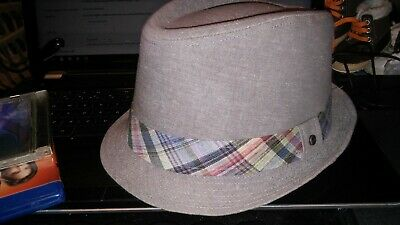cf39eecf126ca STETSON Sand Silky Lined Madras Cotton Linen Plaid Band Fedora Trilby Hat