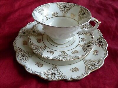 Pair Of Antique Bone China Trios  Cups And Saucers  By Royal Crown Derby 1878-90