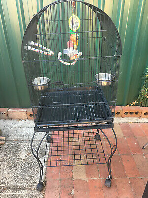 Bird Cage- large Metal frame on Castor Wheels - comes with accessories - Used