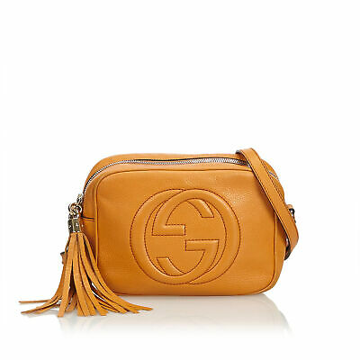 c753d6d0d93 Authentic Gucci Brown Leather Soho Disco Crossbody Bag Italy