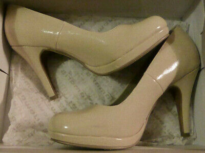 Tamaris Pumps Lack High Heels beige neu