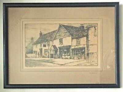 """Early 1900s original etching signed Featherstone Robson: """"The Village Pub""""  VGC"""