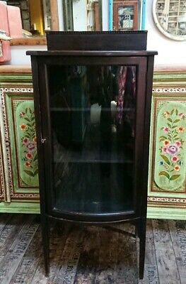 Edwardian Mahogany Bow Fronted Display Cabinet Glass Shelving Antique Vintage