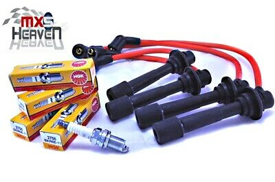 Mazda MX5 MK1 & MK2 HT Leads 8mm Silicone Red & NGK Spark Plugs 1989>2005 *New*