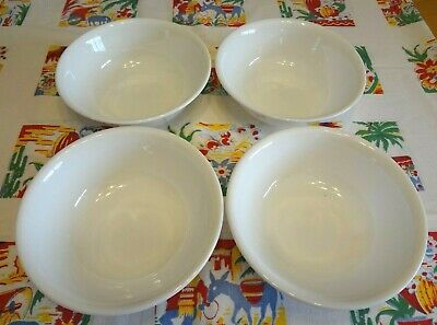 4 Corelle WINTER FROST WHITE CEREAL BOWLS Soup Salad DISHES Corning LIVINGWARE