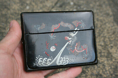 Antique Chinese Wooden Lacquer Painted Dragon Card Box Case Holder - Marks