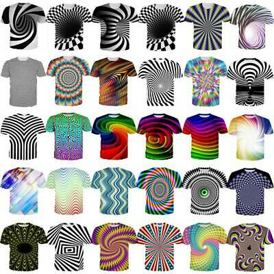 Hypnosis Swirl 3D Print Mens Womens Casual T-Shirt Short Sleeve Tops Graphic Tee